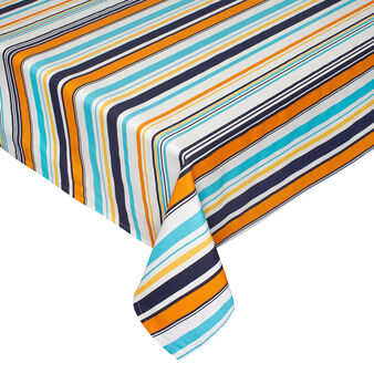 Water-repellent striped tablecloth in cotton