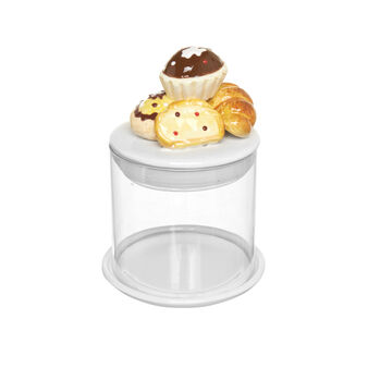 Glass cookie jar with ceramic decorations