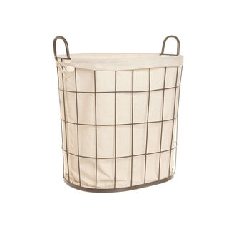 Metal and cotton laundry hamper
