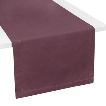 Table runner in 100% cotton with hemstitch border