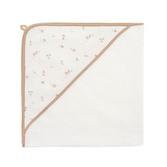 Towel with tree and deer-printed hood
