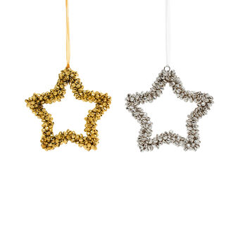 Bell decoration in assorted star shapes