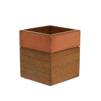 Porta utensili quadrato in legno di mango