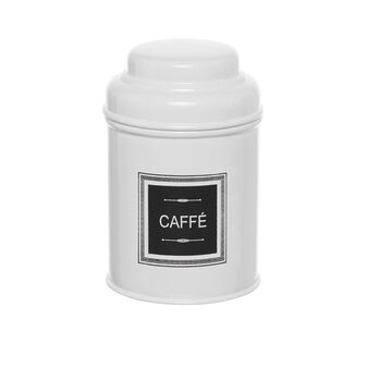 White metal COFFEE jar with lid