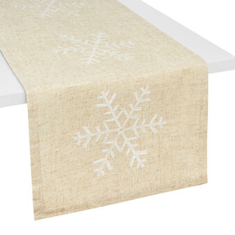 Table runner in linen blend with snowflake embroidery