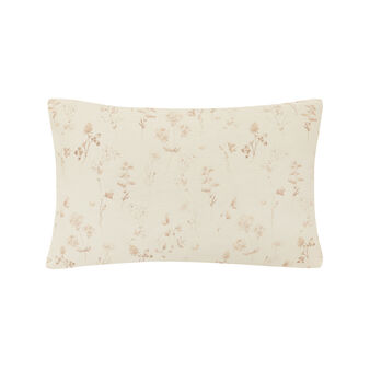 Rectangular cotton cushion with herbarium flower print.