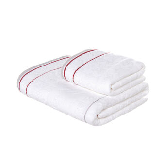 Set consisting of solid colour face towel and guest towel in 100% cotton terry with geometric motif