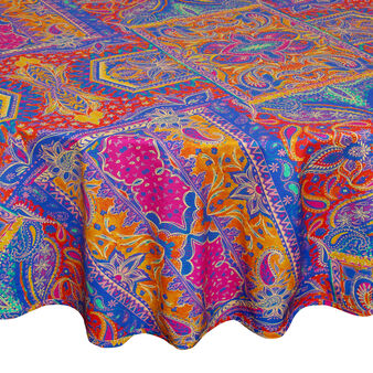Round 100% cotton foulard tablecloth