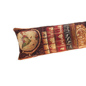 Draught excluder covered in gobelin with antique books pattern