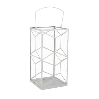 Lantern in geometric metal and glass