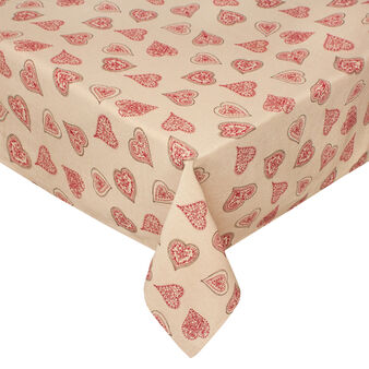100% cotton tablecloth with Fancy Hearts print