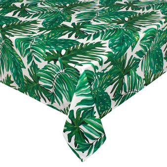 Tropical leaves tablecloth in 100% cotton