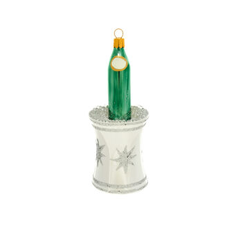 Champagne bottle-shaped glass decoration H 13cm