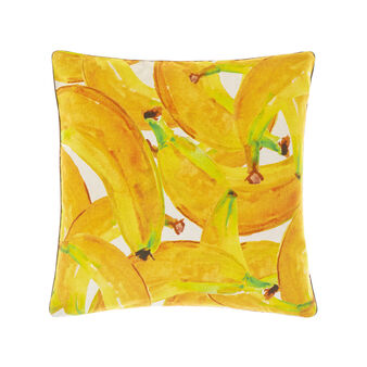 100% cotton cushion with tropical leaves and bananas print