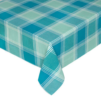 Yarn-dyed, degradé check tablecloth in 100% cotton.