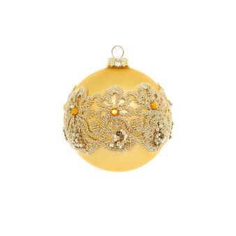 Yellow gold glass bauble with rhinestones D 8cm