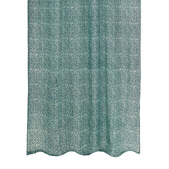 Voile curtain with tone-on-tone block print