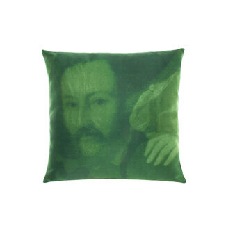 Satin cushion with portrait print