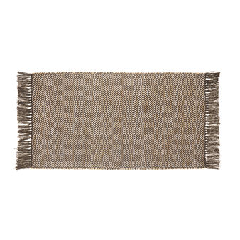 Cotton and jute kitchen mat with fringes