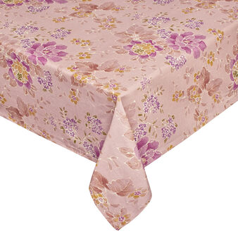Cotton tablecloth with shadow-effect flower print