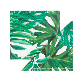 Set of two dark tropical leaves napkins in 100% cotton