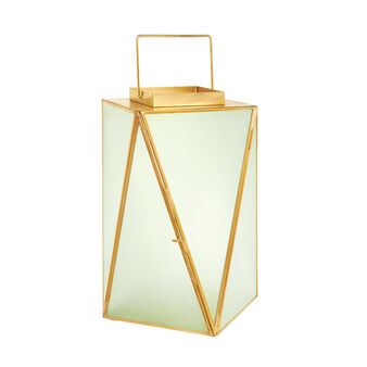 Triangle lantern in glass and metal