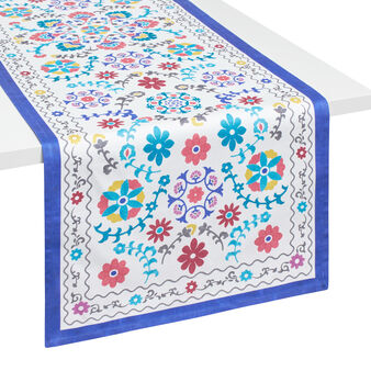Majolica table runner in 100% cotton