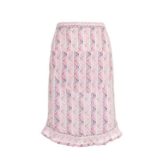 Waist apron in cotton with fan motif print