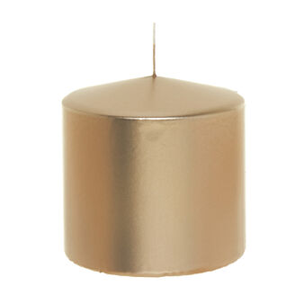 Cylindrical candle in shiny champagne wax