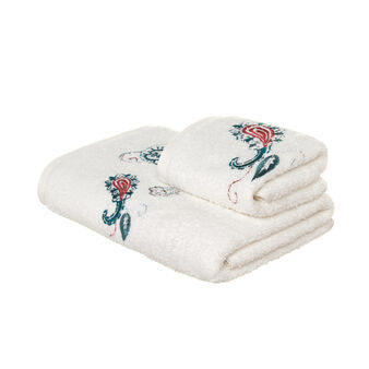 Set consisting of solid colour face towel and guest towel in 100% cotton terry with cashmere embroidery
