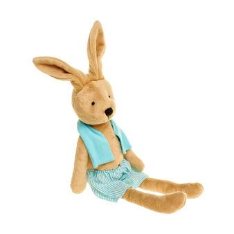 Small boy rabbit soft toy with striped costume