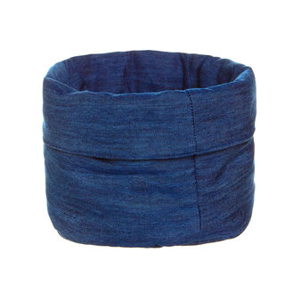Round basket in quilted denim