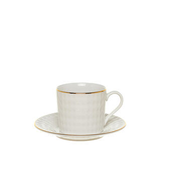 Porcelain coffee cup with diamond-shaped decoration