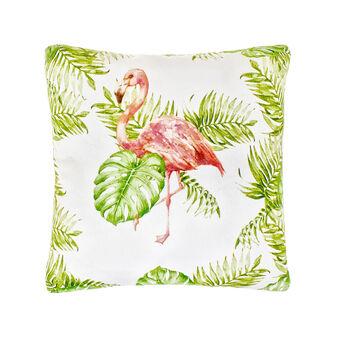 100% cotton cushion with flamingo print