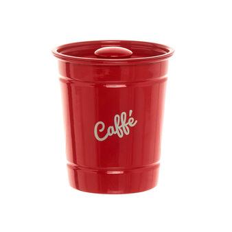 Red iron CAFFÉ jar