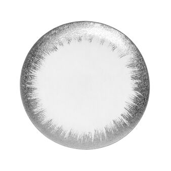 Glass plate with silver rim