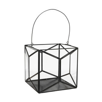Glass lantern with metal edging