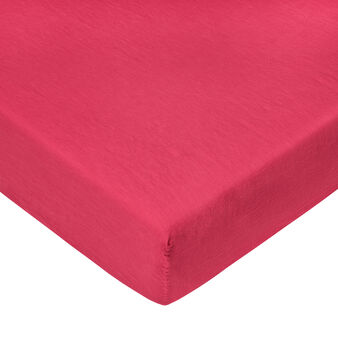 Linen and cotton blend fitted sheet.