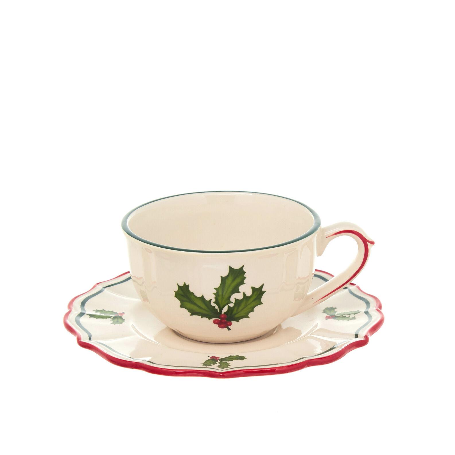 Tazza da colazione in ceramica decorazione agrifoglio for Decorazione ceramica