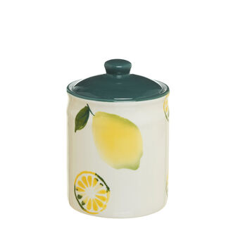 Ceramic jar with lemon decoration