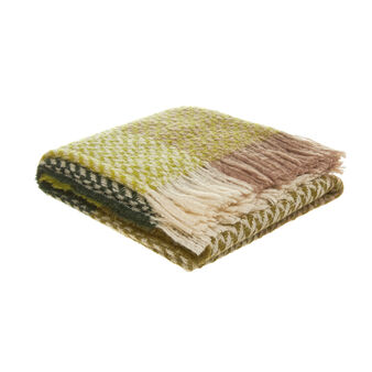 Multi-coloured knitted wool blend throw