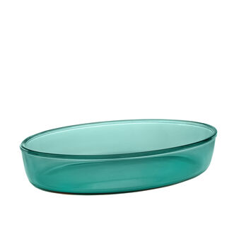 Oval oven dish in coloured glass