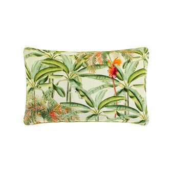 100% cotton rectangular cushion with tropical trees print