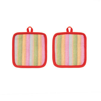 2-pack yarn-dyed, striped pot holders in cotton