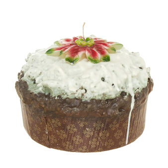 Panettone candle with icing and Christmas star