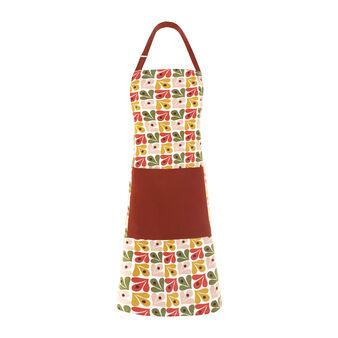 Bib apron in cotton with Geometric print