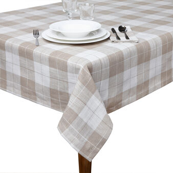 Linen blend checked table cloth