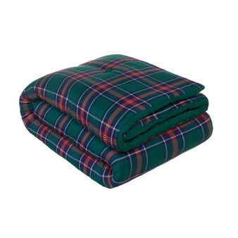 Quilted twill bedspread with tartan pattern