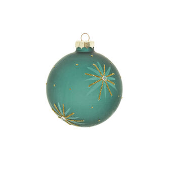 Peacock-coloured glass bauble with stars and glitter D 8cm