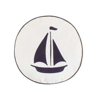100% cotton round cushion with sailing boat
